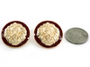 Lion of Judah Button Earrings (Dark Red/Gold Tone)