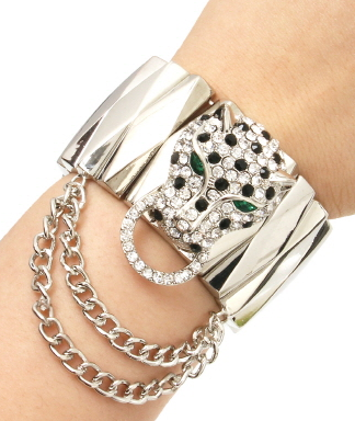 Exotic Jaguar Stretch Bracelet with Rhinestones