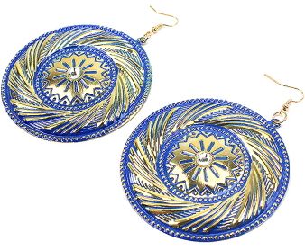 Southwest Inspired Earrings with Rhinestone Accent in Royal Blue & Gold