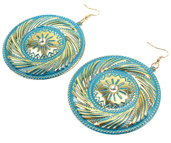 Southwest Inspired Earrings with Rhinestone Accent in Teal & Gold