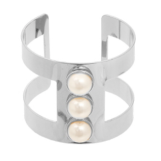 Bar Bracelet with Pearl & Rhinestones Accents