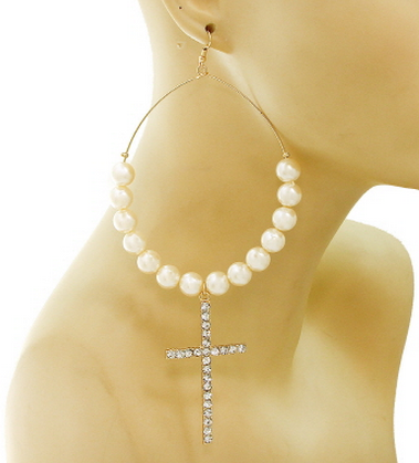 Cross Hoop Pearl Earrings