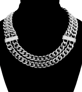 Bold Chain Necklace in Silver with Rhinestone Accents