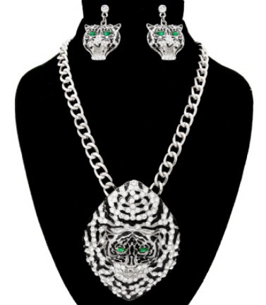 Jade-Eyed Tiger Necklace & Earrings Set