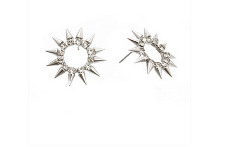 MODERN EDGE'S CHIC STONES & SPIKES EARRINGS SET in Silver Tone