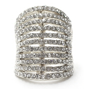Classic Bar Statement Ring with Rhinestones