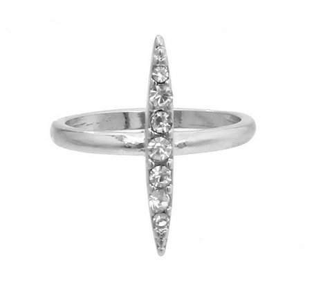 MODERN EDGE'S CHIC BAR RING IN SILVER TONE