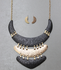 Hammered Boomerang Necklace & Earrings Set in Gold Tone