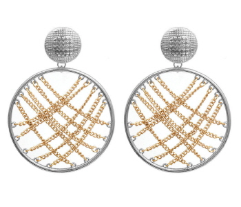 Round Shape Earrings with Chain Accents in Silver & Gold Tone