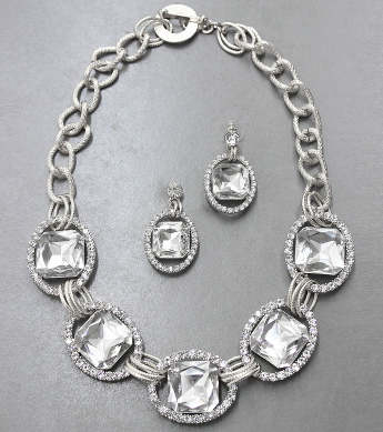 Old Hollywood Glamour Crystal Drop Necklace & Earrings Set