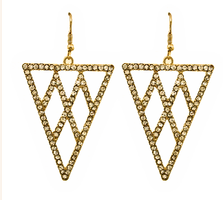 Cocktail Earrings in Gold Tone with Rhinestone Accents