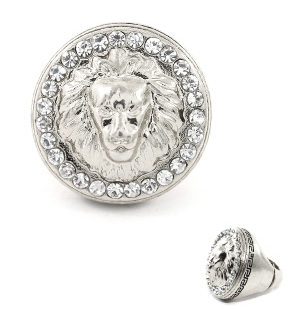 Lion of Judah Medallion Stretch Ring in Silver Tone with Rhinestones