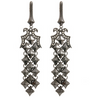 Diamond Pattern Cocktail Earrings in Hematite or Silver Tone