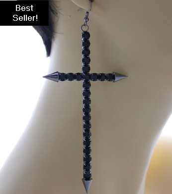 Bold Cross Earrings with Spikes & Rhinestones in Black or Silver Tone