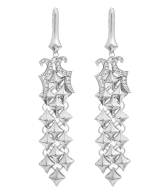 Diamond Pattern Cocktail Earrings in Burnished Silver