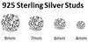 Brilliant Unisex Sterling Silver Round Solitaire Simulated Diamond Stud Earrings (7MM or 8MM)