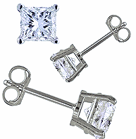 Brilliant Unisex Sterling Silver Princess Cut Simulated Diamond Stud Earrings (4MM or 6MM)