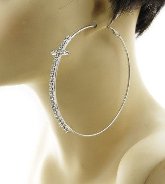 Large Cross Hoop Earrings in Silver Tone