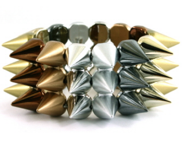 Edgy Spike Stretch Bracelet in Multi-Metal Tones