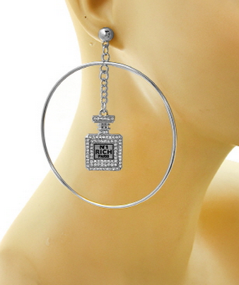 Perfume Bottle Hoop Earrings in Silver Tone with Rhinestones