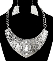 Bold Silver Tone Necklace & Earrings Set w/Rhinestones