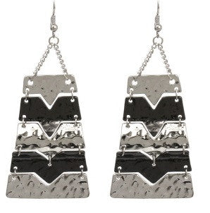 Multi-Color Hammered Statement Earrings in Silver/Gold/Black or Silver/Black