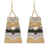 Multi-Color Hammered Statement Earrings in Silver/Black or Silver/Gold/Black