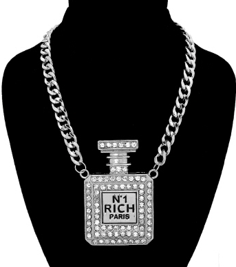 Perfume Bottle Necklace in Silver Tone with Rhinestones