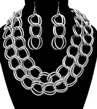 Bold Chain Statement Necklace & Earrings Set in Silver Tone