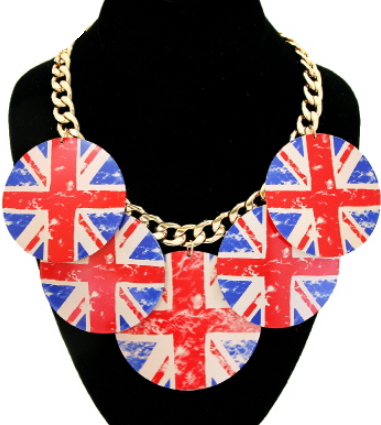 British Flag Statement Necklace
