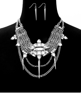 Modern Edge All Spiked Out Classic Rhinestone Necklace in Silver Tone
