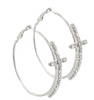 Cross Hoop Earrings in Silver or Gold Tone (Small)