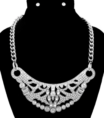 Bold Statement Necklace & Earrings Set with Multi-Shaped Rhinestone Accents