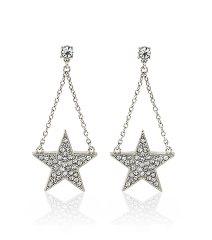 Bold Black Star & Rhinestone Earrings (Available in Silver Tone)
