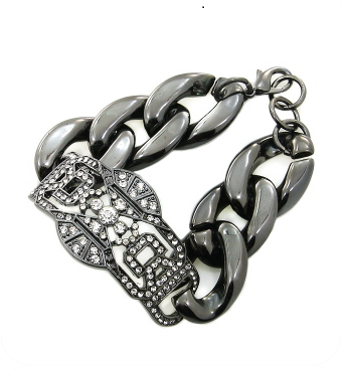 So So Glam Bracelet in Hematite with Rhinestones