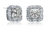 Simply Classic Sterling Silver Princess-Cut Earrings with Crystalline stones