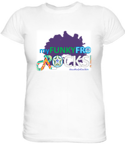 My Funky Fro Rocks Tee (Purple, Green &Turquoise Multi-Color Logo)
