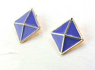 Honeycomb Earrings in Purple/Gold