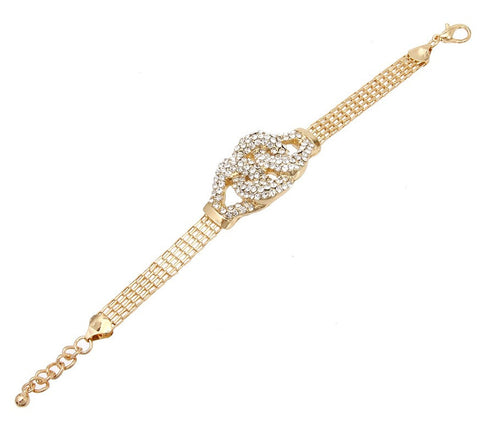 Classic Old Hollywood Glamour Double Loop Bracelet with Rhinestones in Gold Tone