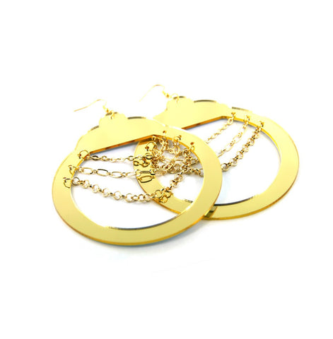 Bold, Large & In-Charge Mirrored Handcuff Earrings with Chain Accents in Gold Tone