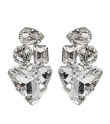 Old Hollywood Glamour Geo-Shaped Earrings in Silver Tone w/Rhinestones