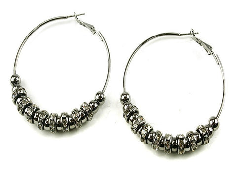 Hematite Hoops with Balls & Rhinestone Rondelette Accents