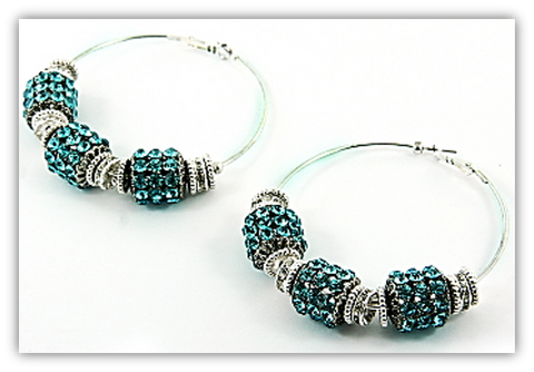 Bold Hoop Earrings w/Colored Rhinestones