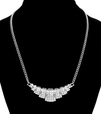 Dome Necklace with Rhinestones in Silver Tone