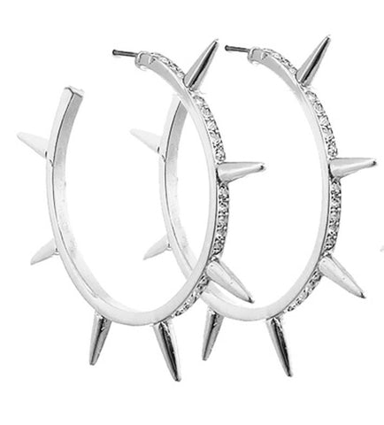 All-Spiked Out Earrings with Rhinestones in Silver Tone (3 Sizes)
