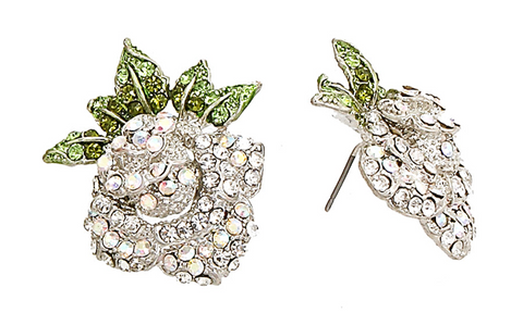 Rose & Rhinestones Earrings in Crystal/Green Tone