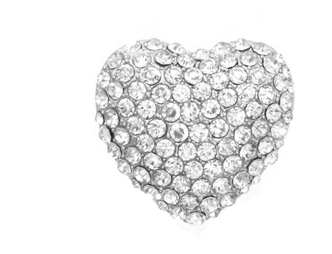 Big & Bold Heart Ring with Rhinestones in Silver Tone
