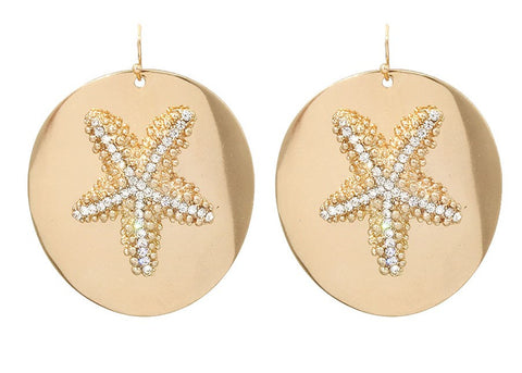 Sand Dial Earrings with Starfish and Rhinestone Accents in Gold Tone