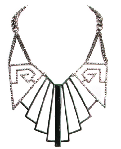 Bold Geo Mod Statement Necklace in Multi-Color Hematite Metal