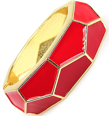Honeycomb Bracelet in Red/Gold Tone
